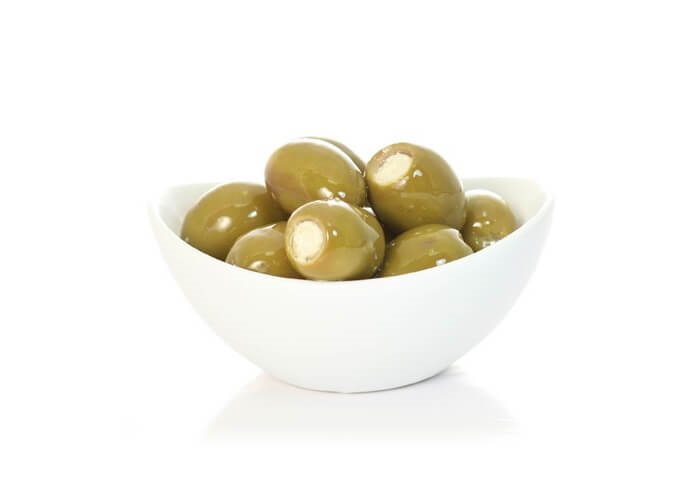 GREEN OLIVES STUFFED <br>WITH CHEESE MIXTURE